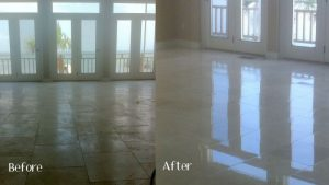 Stone, Tile & Grout Cleaning before and after work